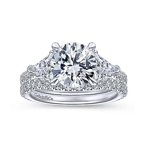 14K White Gold Round 3 Stone Diamond Engagement Ring