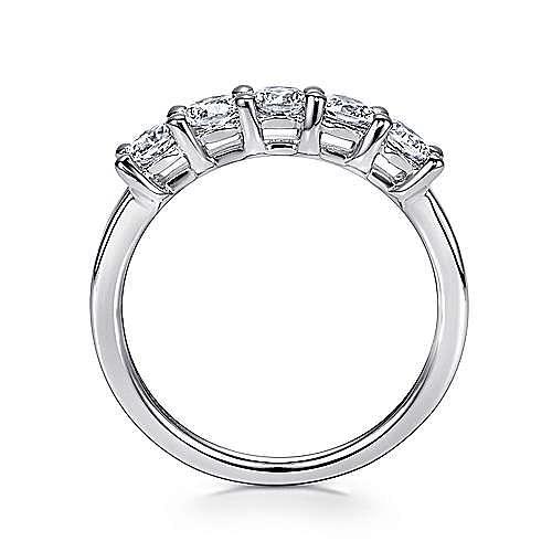 14K White Gold Round 5 Stone Shared Prong Diamond Anniversary Band