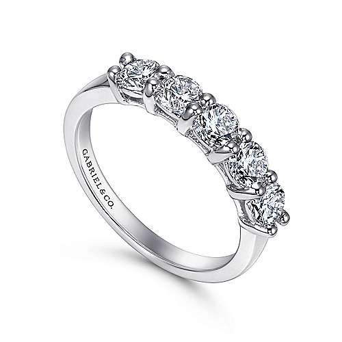 14K White Gold Round 5 Stone Shared Prong Diamond Anniversary Band
