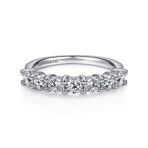 14K White Gold Round 7 Stone Shared Prong Diamond Anniversary Band