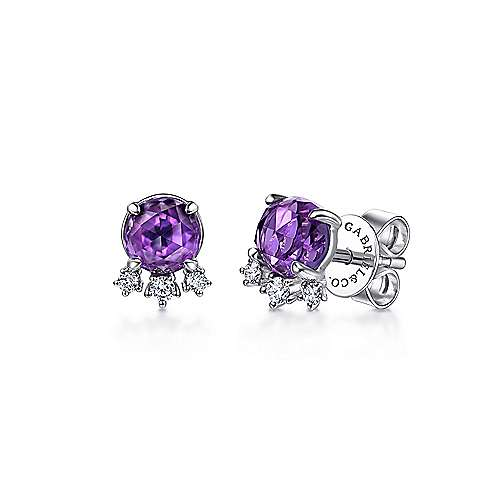 14K White Gold Round Amethyst and Diamond Accent Stud Earrings