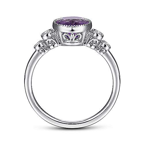 14K White Gold Round Amethyst and Diamond Accents Ladies Ring