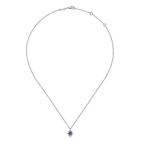 14K White Gold Round Amethyst and Diamond Burst Pendant Necklace