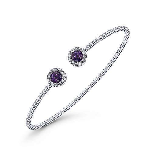 14K White Gold Round Amethyst and Diamond Halo Bujukan Bangle