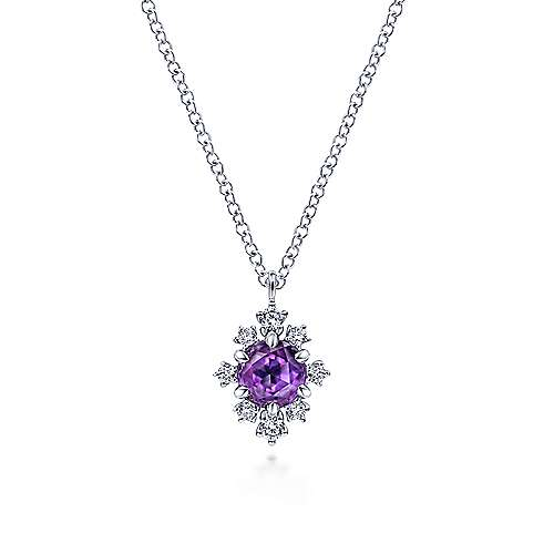 14K White Gold Round Amethyst and Diamond Pendant Necklace