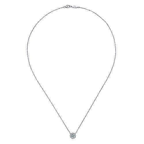 14K White Gold Round Aquamarine and Diamond Halo Pendant Necklace