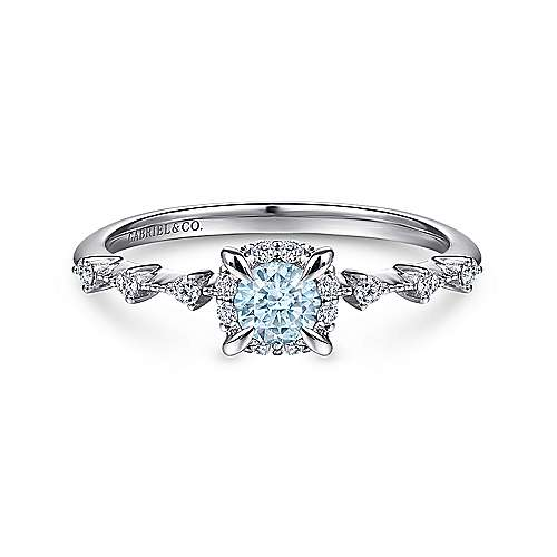 14K White Gold Round Aquamarine and Diamond Halo Ring