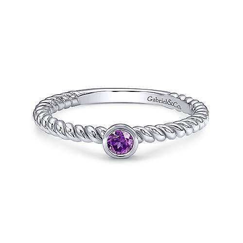 14K White Gold Round Bezel Amethyst and Rope Shank Ring