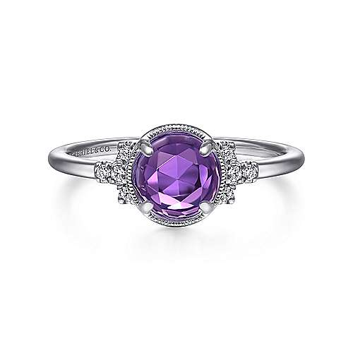 14K White Gold Round Bezel Set Amethyst Ring with Diamond Side Accents