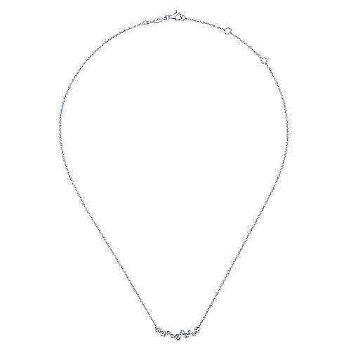 14K White Gold Round Bezel Set Diamond Bubble Bar Necklace