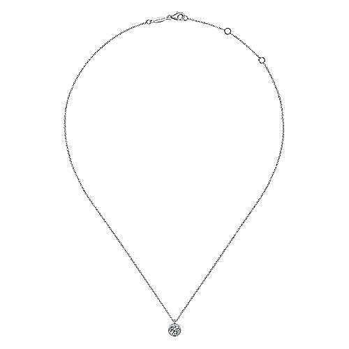 14K White Gold Round Bezel Set Diamond Pendant Necklace