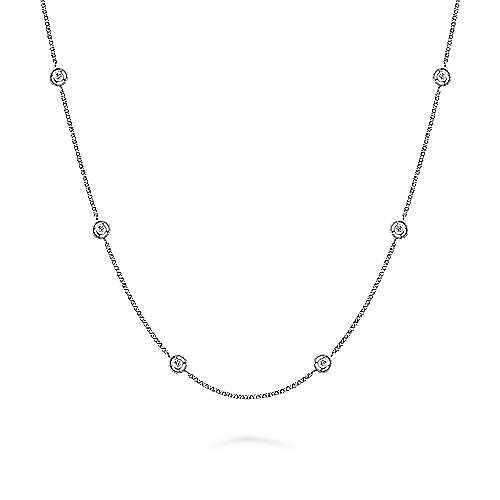 14K White Gold Round Bezel Set Diamond Station Necklace