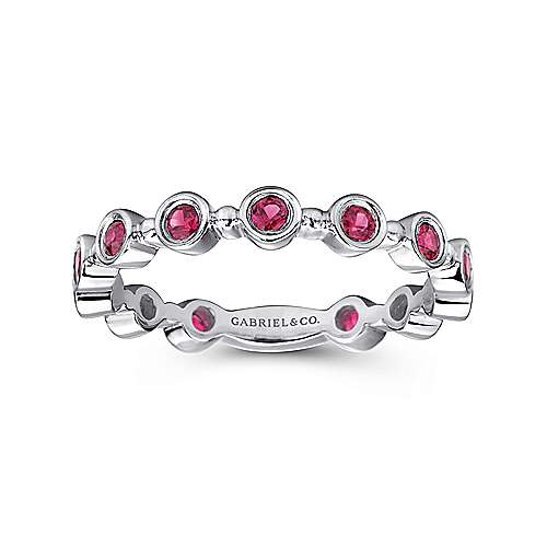 14K White Gold Round Bezel Station Ruby Stackable Ring
