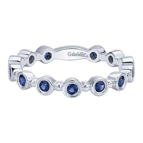 14K White Gold Round Bezel Station Sapphire Stackable Ring