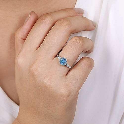 14K White Gold Round Blue Topaz & Diamond Ring