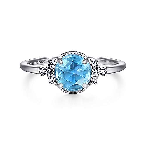 14K White Gold Round Blue Topaz Diamond Side Stones Ring