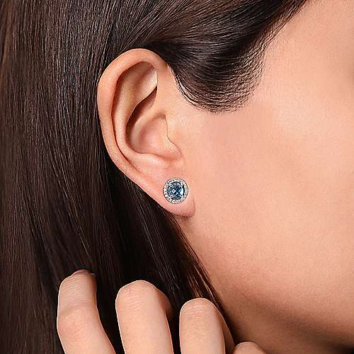 14K White Gold Round Blue Topaz Floating Diamond Halo Stud Earrings