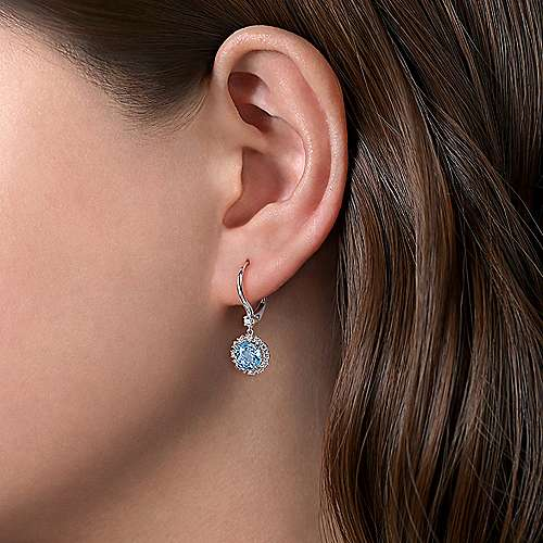 14K White Gold Round Blue Topaz and Diamond Halo Drop Earrings