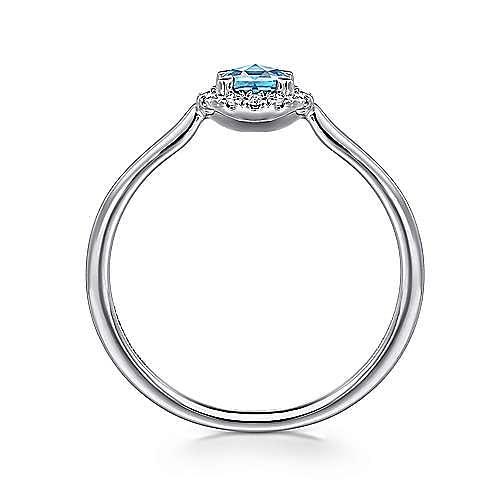 14K White Gold Round Blue Topaz and Diamond Halo Ladies Ring