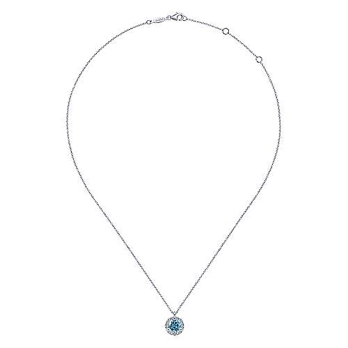 14K White Gold Round Blue Topaz and Diamond Halo Pendant Necklace