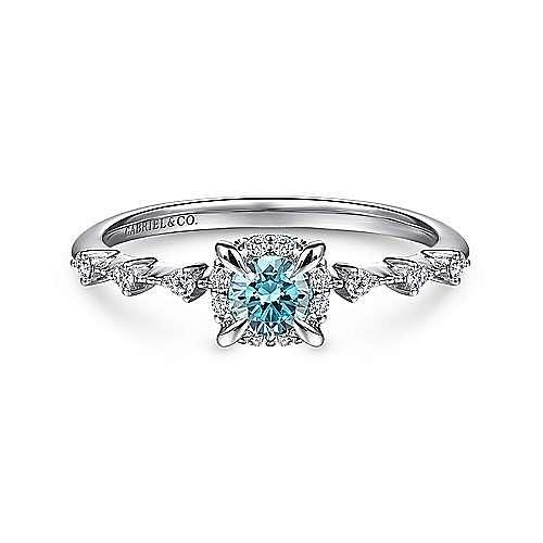 14K White Gold Round Blue Topaz and Diamond Halo Ring