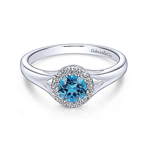 14K White Gold Round Blue Topaz and Diamond Halo Ring