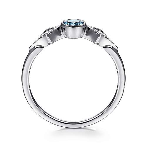 14K White Gold Round Blue Topaz and Diamond Three Stone Ring