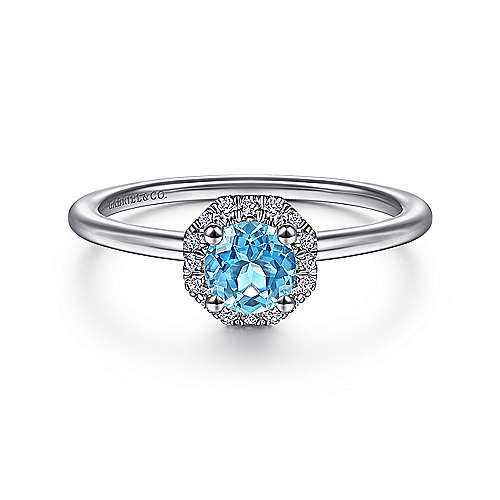 14K White Gold Round Blue Topaz and Hexagon Diamond Halo Ring