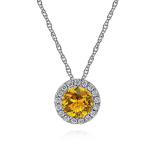 14K White Gold Round Citrine and Diamond Halo Pendant Necklace