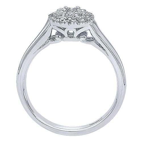 14K White Gold Round Cluster Halo Diamond Engagement Ring