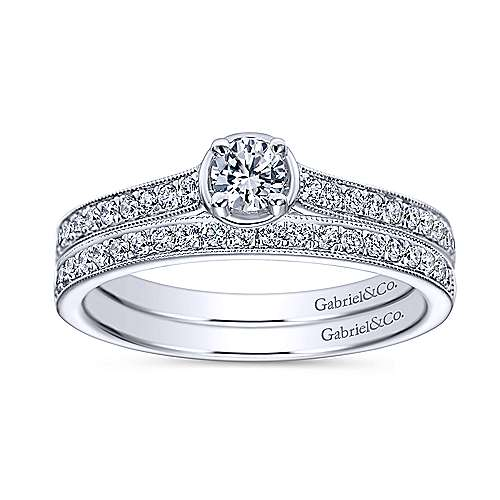 14K White Gold Round Complete Diamond Engagement Ring