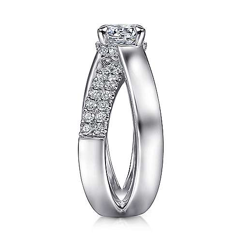 14K White Gold Round Criss Cross Shank Diamond Engagement Ring