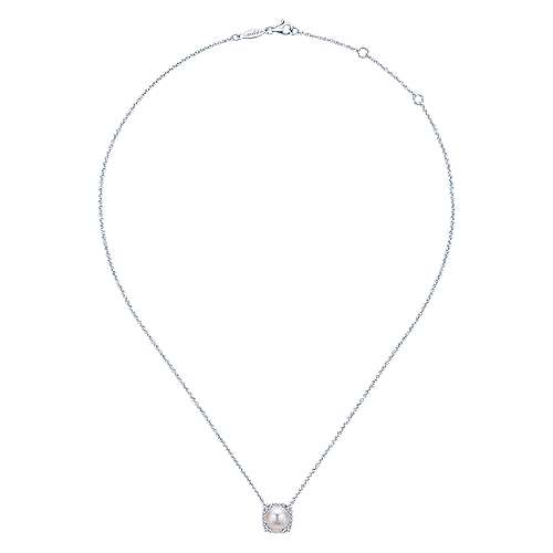 14K White Gold Round Cultured Pearl and Diamond Cushion Halo Pendant Necklace