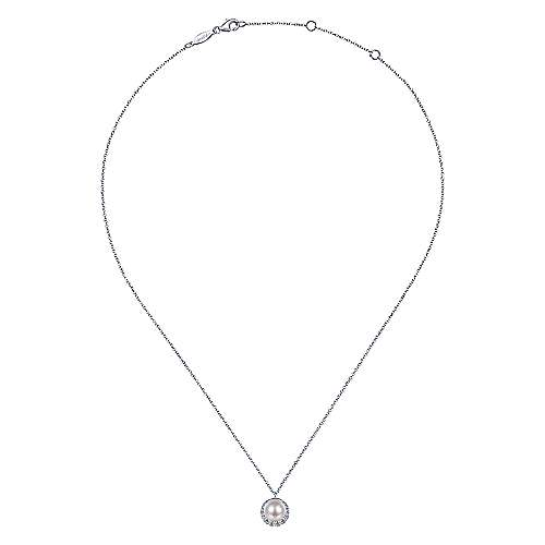 14K White Gold Round Cultured Pearl and Diamond Halo Pendant Necklace