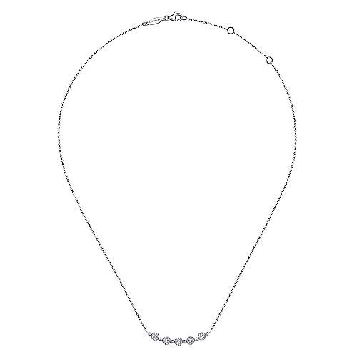14K White Gold Round Curved Diamond Bar Necklace