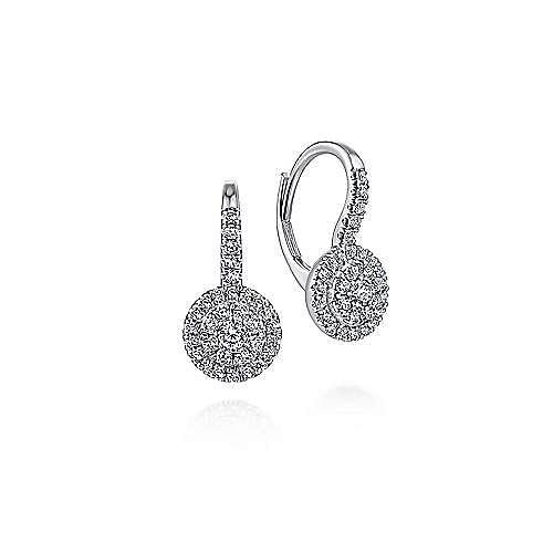 14K White Gold Round Diamond Cluster Leverback Earrings