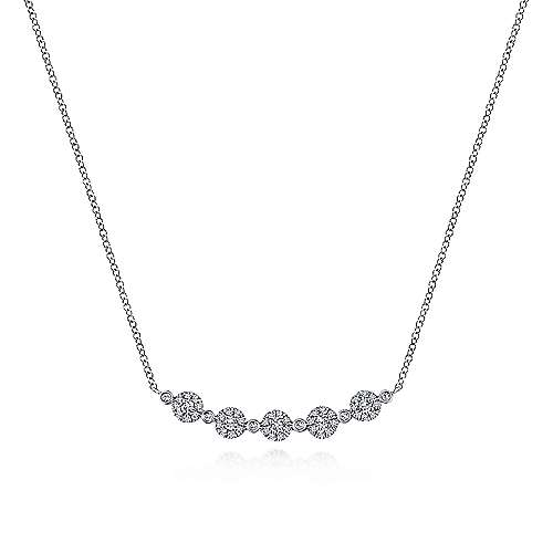 14K White Gold Round Diamond Cluster Station Curved Bar Necklace