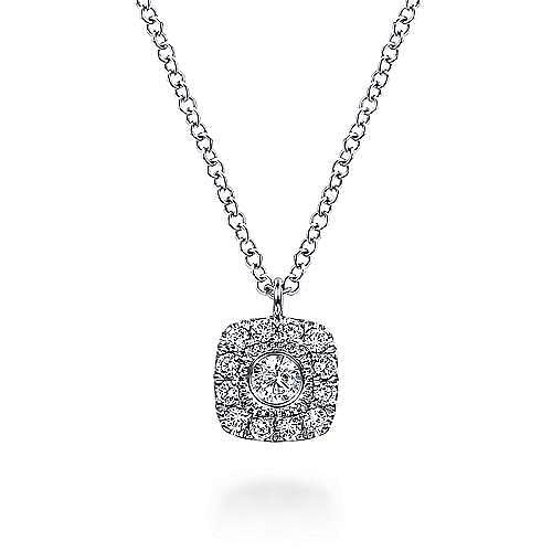 14K White Gold Round Diamond Cushion Halo Pendant Necklace