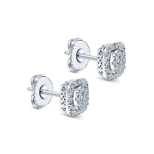 14K White Gold Round Diamond Cushion Halo Stud Earrings