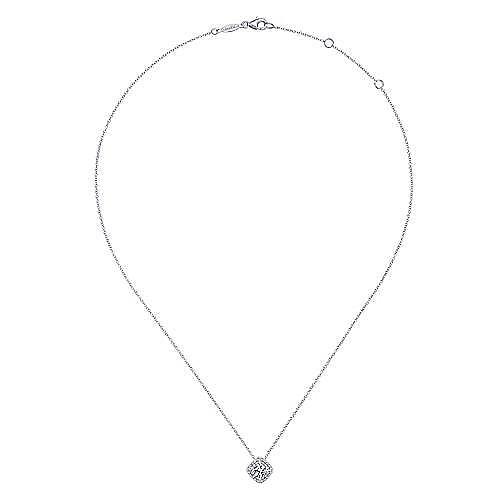 14K White Gold Round Diamond Double Halo Pendant Necklace