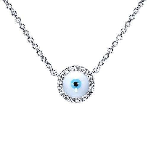 14K White Gold Round Diamond Evil Eye Pendant Necklace
