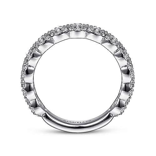 14K White Gold Round Diamond Halo Anniversary Band