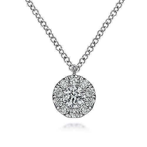 14K White Gold Round Diamond Halo Pendant Necklace