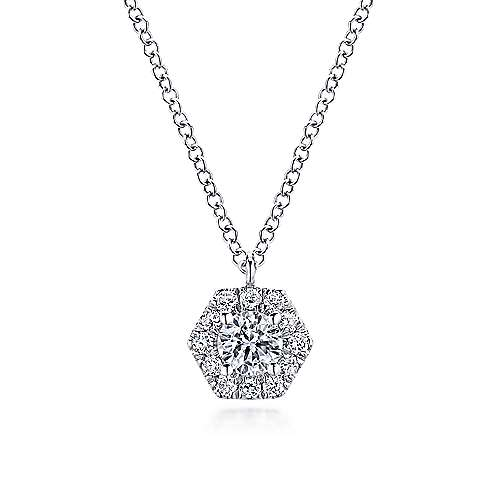 14K White Gold Round Diamond Hexagonal Halo Pendant Necklace