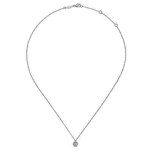 14K White Gold Round Diamond Hexagonal Halo Pendant Necklace
