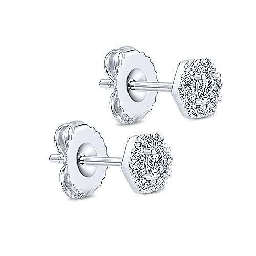 14K White Gold Round Diamond Hexagonal Halo Stud Earrings