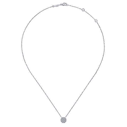 14K White Gold Round Diamond Octagonal Halo Pendant Necklace