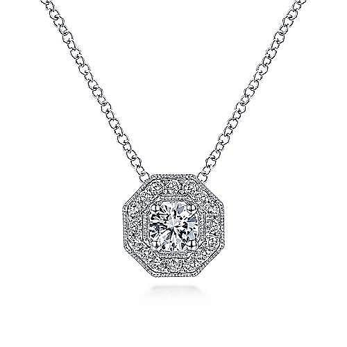 14K White Gold Round Diamond Octagonal Halo Pendant Necklace