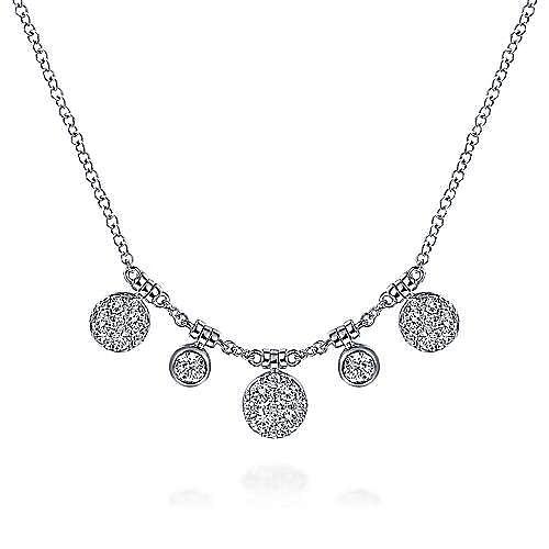 14K White Gold Round Diamond Pavé and Bezel Charm Necklace
