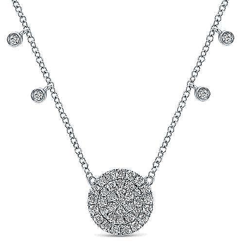 14K White Gold Round Diamond Pendant Necklace